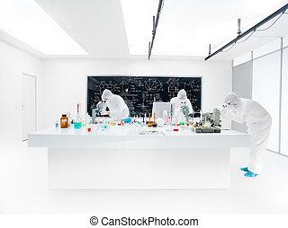 chemie, examen, laboratorium