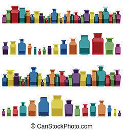 chemie, flessen, kleurrijke, ouderwetse , glas botst, ...