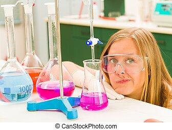chemie, frustriert, junger, schueler