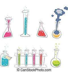 chemie, set, spotprent