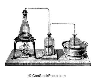 chemie, weinlese, destillation, doppelgänger, ausrüstung