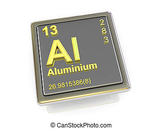 chemikálie, aluminium., element.