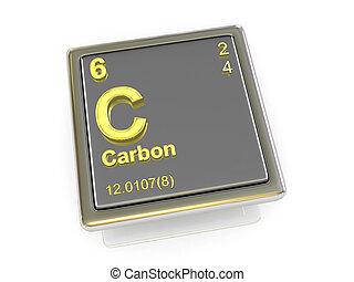 chemikálie, carbon., element.