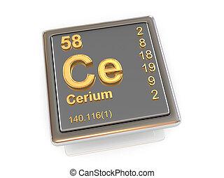 chemikálie, cerium., element.