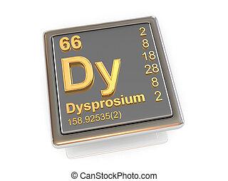 chemikálie, dysprosium., element.