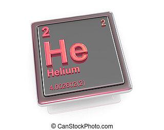 chemikálie, element., helium.