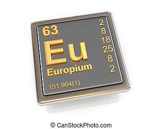 chemikálie, europium., element.