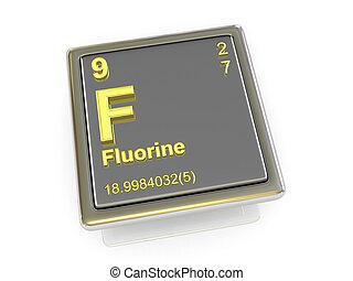 chemikálie, fluorine., element.