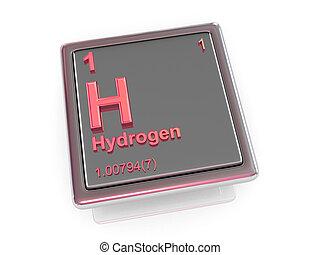 chemikálie, hydrogen., element.