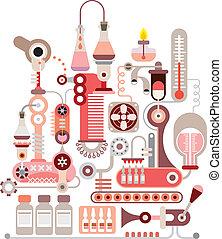 chemikálie, laboratoř, vektor, ilustrace