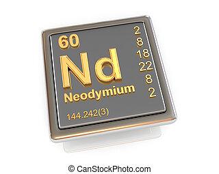 chemikálie, neodymium., element.
