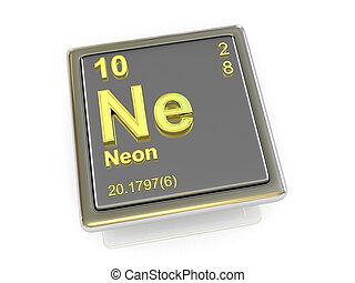 chemikálie, neon., element.