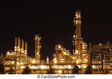 chemikálie, průmyslový, dějiště, večer