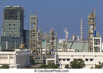 chemikálie, průmyslový, továrna