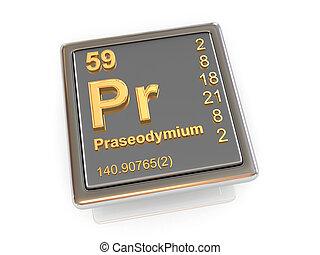 chemikálie, praseodymium., element.