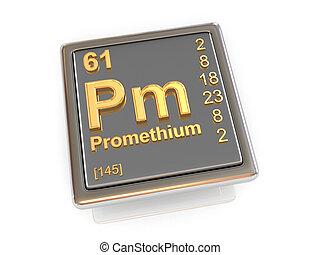 chemikálie, promethium., element.