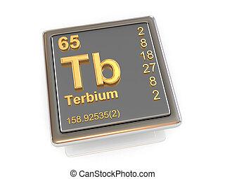 chemikálie, terbium., element.