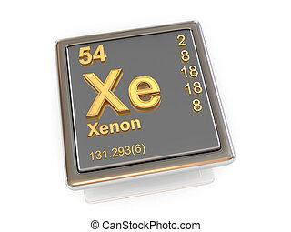 chemikálie, xenon., element.