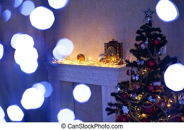 cheminée, arbre, décorations noël, lumières