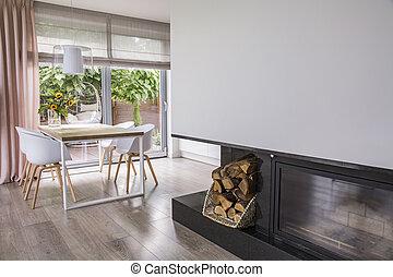 cheminée, côté, blanc, chaises, table, dans, clair, salle manger, intérieur, à, fenêtre., vrai, photo
