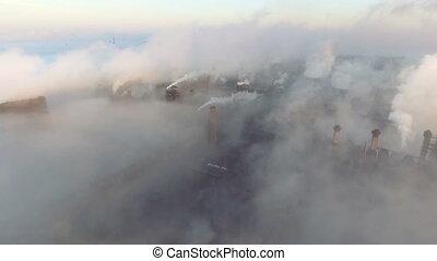 cheminée, drone., émission, pipes., shooted, aérien, vue.,...