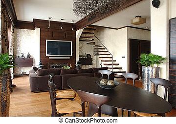 cheminée, escalier, salle, vivant, intérieur
