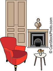cheminée, fauteuil, rouges, statue