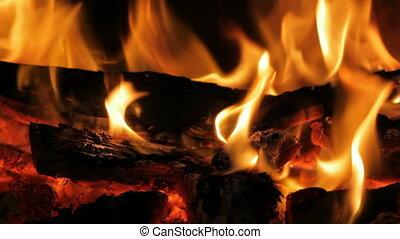 cheminée, flamme, closeup