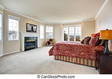 cheminée, luxe, chambre à coucher