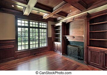 cheminée, marbre, bibliothèque