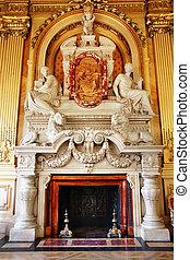 cheminée, marbre, luxueux