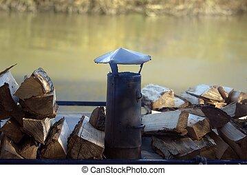 cheminée, sur, a, bateau canal
