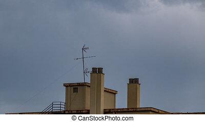 cheminée, toit, résidentiel, bâtiment, antenne