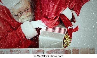 cheminée, vidéo, neige, tomber, composition, dons, sur, trowing, santa