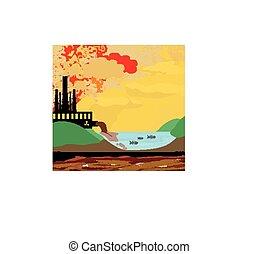 cheminées, air, usine, polluer