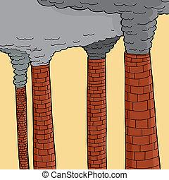 cheminées, fumée