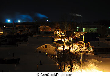 cheminées, fumer, village, horizon, nuit