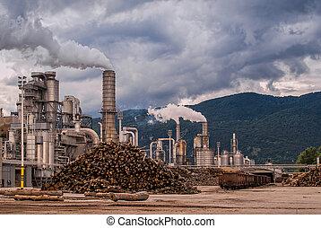 cheminées, industry., trunks., rail, silos, bois, voitures