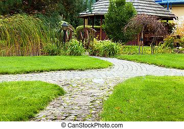 chemin, dans jardin