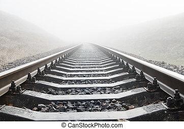 chemin fer, brouillard,  closeup