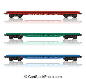 chemin fer, ensemble, flatcars