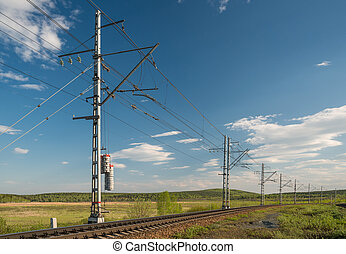chemin fer, fils, électrique, perspective