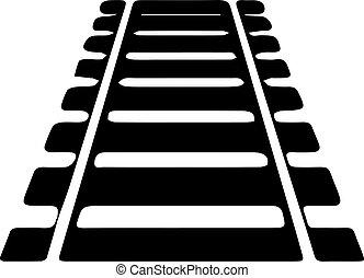 chemin fer, fond blanc, icône