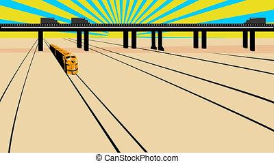 chemin fer, haut, venir, diesel, train