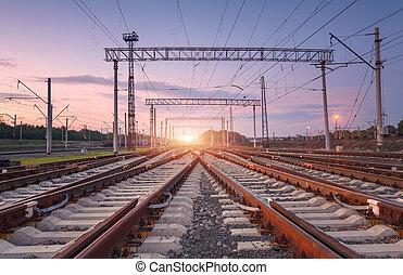 chemin fer, industriel, jonction, paysage