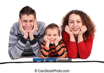 chemin fer, jouet, parents, fils