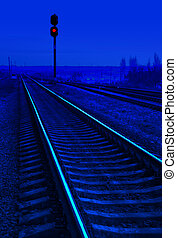 chemin fer, nuit