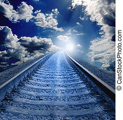 chemin fer, soir, va, dans, blanc, trou