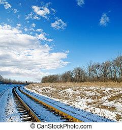 chemin fer, sunset., horaire hiver