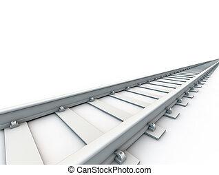 chemin fer, sur, fond blanc